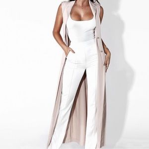 JLUXLABEL nude longline sleeveless duster trench